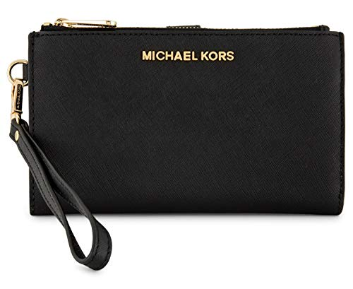 Michael Kors Jet Set Travel double Zip Wristlet (Black Saffiano) (Cute Things To Put On A Keychain)