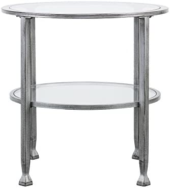 Southern Enterprises Jaymes Round Glass End Table, Silver Frame Finish