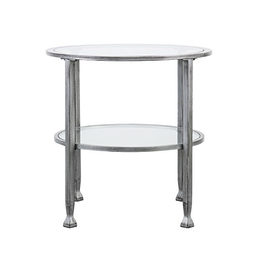 Southern Enterprises Jaymes Round Glass End Table, Silver Frame Finish by Southern Enterprises