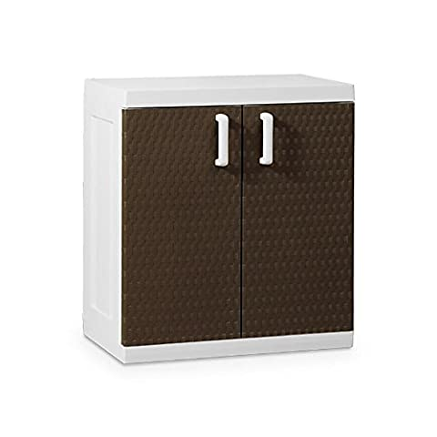 Toomax Rattan Line XL Short Storage Unit Without Shelves, White/Brown