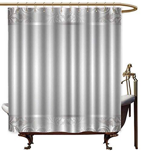Kids Bathroom Shower Curtain,Grey Rococo Style Framework Ornaments Old Fashioned Antique Design Retro Borders,Shower Curtain bar,W72x84L,Pale Grey and Grey