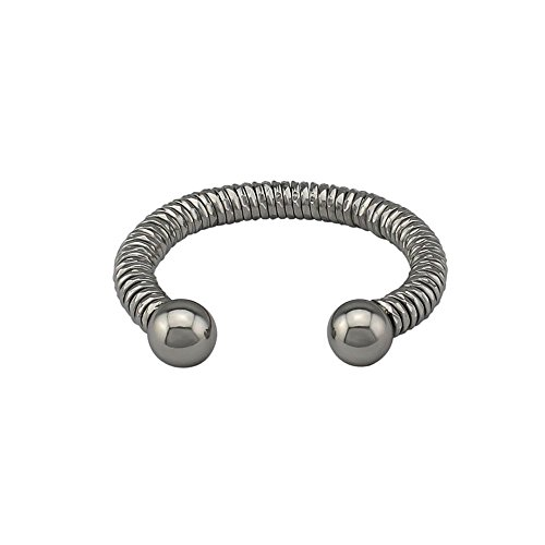 Amythyst Unisex Men's and Women's Silver Tone Open End Stainless Steel West Indian Inspired Ball Cuff Bangle (Twist Cable Design)