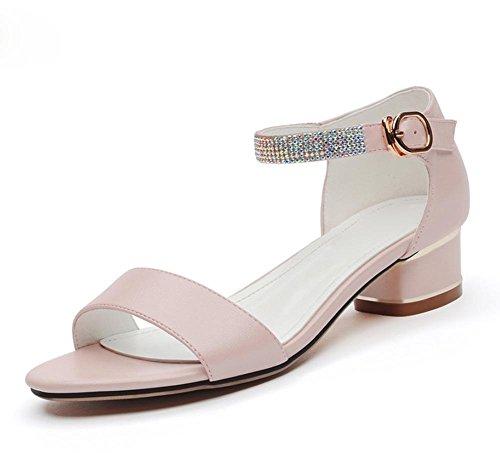 Strass Sandalen Wort Schnalle Sandalen niedrig dick mit offenen Sandalen und Pantoffeln Frauen Sandalen Sommer Sandalen Pink