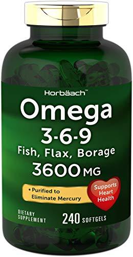Horbaach Triple Omega 3-6-9 3600 mg 240 Softgels — from Fish, Flaxseed, Borage Oils | Supports Heart Health | Non-GMO & Gluten Free