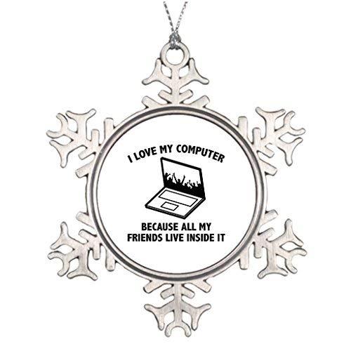 OneMtoss Christmas Snowflake Ornament Tree Branch Decoration I Love My Computer I Love My Computer Halloween Tree Decorations -