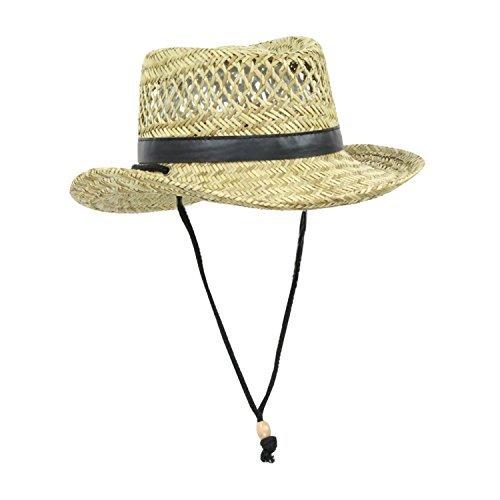 (Mens Natural Straw Flat Top Gambler Sun Hat (Black Trim))