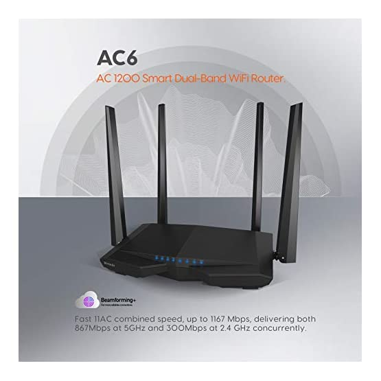 Tenda AC1200 Dual Band WiFi Router, High Speed Wireless Internet Router with Smart App, MU-MIMO for Home (AC6) 41h1Nqs0z0L. SS555