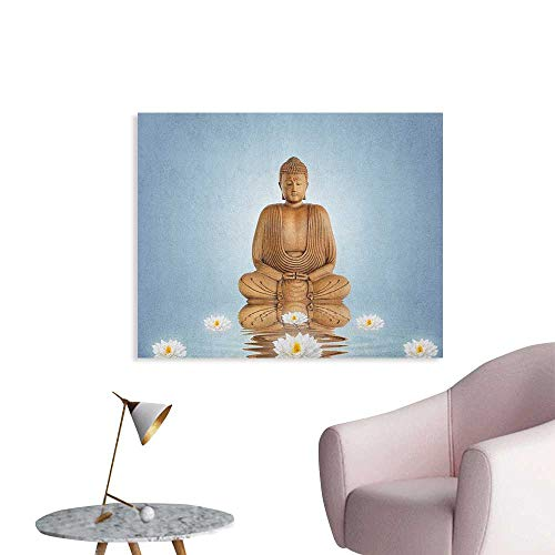Anzhutwelve Sculptures Art Decor Decals Stickers Meditation Lotus Lilly Flowers Reflection on Water Eastern Tranquil Zen Inspired Art Poster Blue White W48 - Sculpture Demi