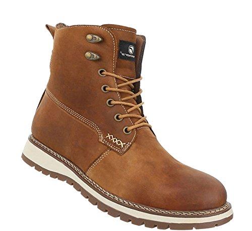 Boots Used Optik Herren Camel Leder Schnürer Schuhe 5Uqxxng7