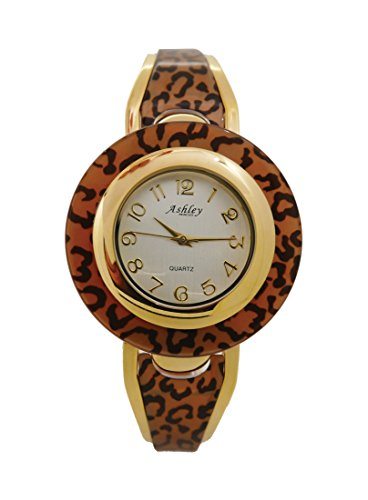 Leopard Animal Print Bangle Watch by Ashley Princess. Easy Reader Dial. Roar!!- L21826 Leopard