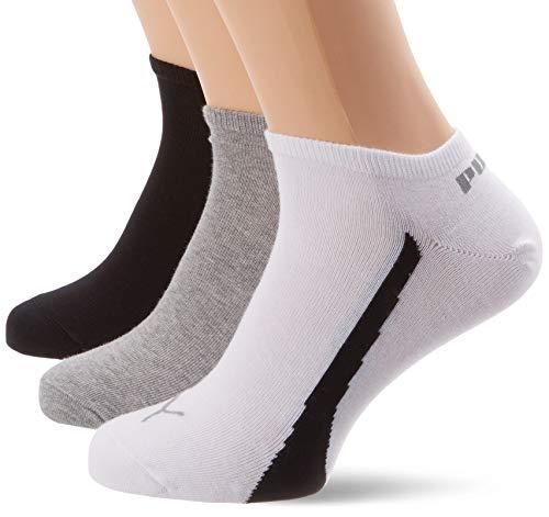 Puma Men's & Women's 3 Pair Ring Sneaker Socks 10-12 White / Grey / Black