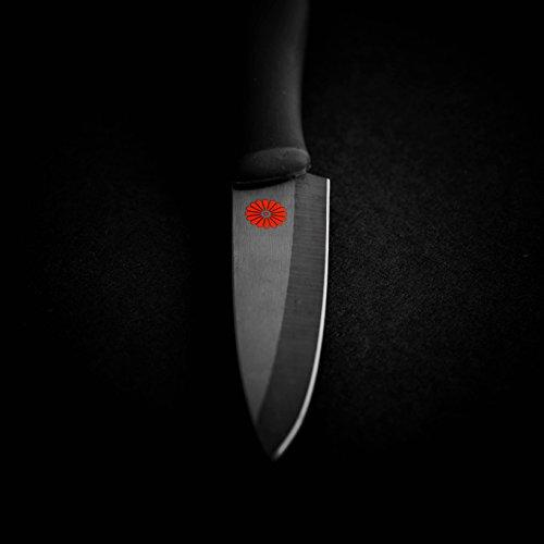Kikusumi 4-Piece Chef Knife Gift Set Bundle - SUMI Black Handle + Black Ceramic Blade - 7 inch Gyuto Chef Knife + 5 inch Santoku + 3 inch Paring + 8 inch Serrated Bread Knife + 4 Knife Sheaths by Kikusumi (Image #6)