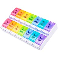 BUG HULL Pill Organizer 2 Times a Day New Version, Weekly Push Button AM PM Pill Case, 7 Day Pill Box