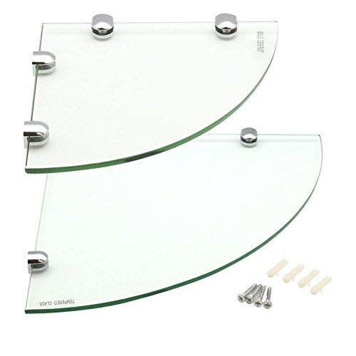 Harbour Housewares Glass Corner Bathroom/Bedroom Shelf - 1x 200x200mm & 1x 300x300mm