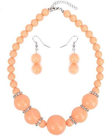 MKmd-s Exquisita joyería de Perlas con Tachuelas de aleación, Conjunto de Pendientes de Collar, Colores Brillantes, te Hacen más Brillante y Encantador Naranja
