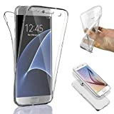 Connect Zone Compatible for Samsung S7 Edge Ultra Slim 360-degree Shockproof Case Cover Front and Back Full Body TPU Silicone Gel - Clear Transparent