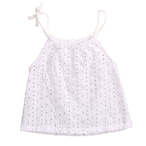 Price comparison product image Newborn Baby Boys Girls Cotton Tops T-shirt Hollow Out Lace Blouse White Harness Outfit Set 0-3 Years (12-24 Months)