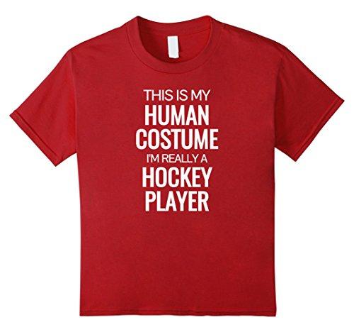 Kids Human costume I'm really a hockey player Halloween Tshirt 12 (Girl Hockey Player Halloween)