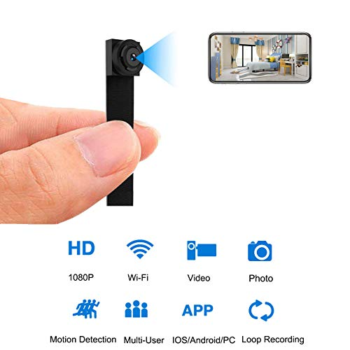 Hidden Spy Camera 1080P Wi-Fi, APP Controlled Nanny Cam Portable Security Cameras with 8 Hours Working Time Motion Detection Loop Recording