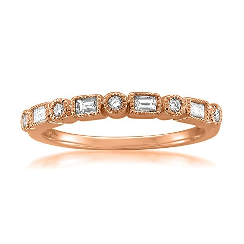 14k Rose Gold Round & Baguette Diamond Bridal Wedding Band Ring (1/4 cttw, I-J, SI2-I1), Size 8