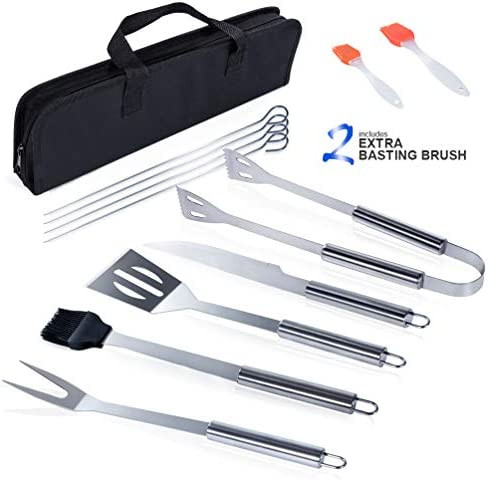 Masthome BBQ Grill Accessories 9 PCS Barbecue Tool Sets with Carry Case 2 Basting Brush Stainless Steel Barbecue Grilling Utensils for Camping Picnic
