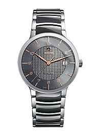 Rado Centrix Grey Dial Stainless Steel Case Stainless Steel and Black Ceramic Bracelet Mens Watch R30939132 by Rado