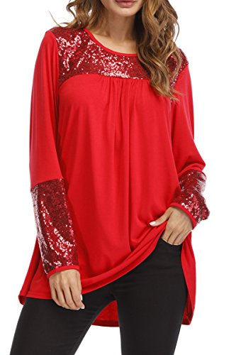 Symptor Women's Plus Sequin Tunic Blouses Casual Long Sleeve Swing Pullovers Red (Sequin Peasant Top)
