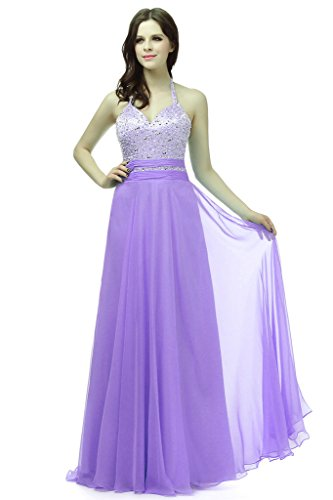 Vantexi Women's Halter Long Silk Chiffon Bridesmaid Prom Dress Lavender 18