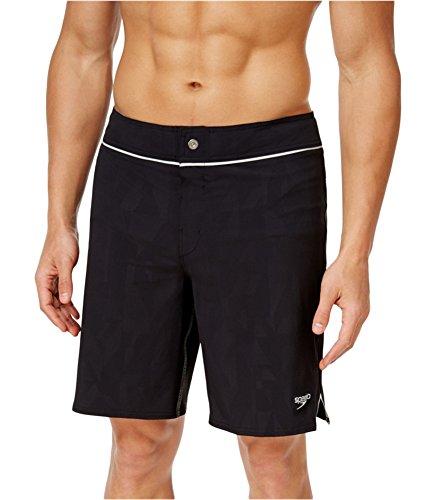 Speedo Men's Embossed Geo Packable Boardshort Workout & Swim Trunks, Speedo Black, Size 34