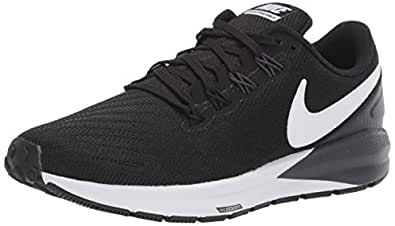 Nike Women's Air Zoom Structure 22 Running Shoes, Black/White-Gridiron, 6.5 US