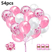 Pink Confetti Balloons,50 Pack 12-Inch Balloons with Confetti Pink and White Party Balloons PinkRibbon Great for Birthday Party, Engagement, Wedding, Bridal Shower, Baby Shower Decoration