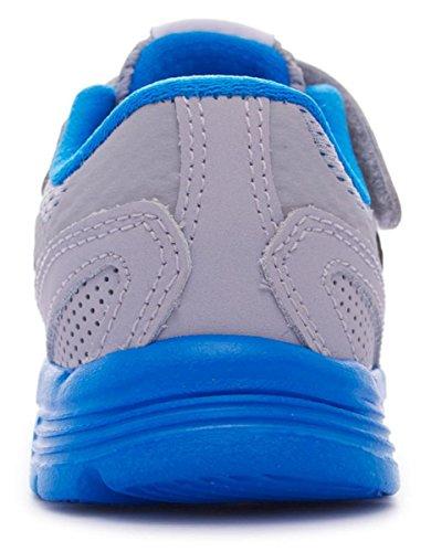 Nike - Nike Kids Fusion Run 3 (TDV) Zapatos Deportivos Niño Gris Tejido Cuero 654154 Gris - Wolf Grey/Black-White-Photo Blue