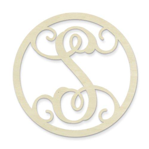 UNFINISHEDWOODCO Single Letter Circle Monogram-S, 19-Inch, Unfinished -