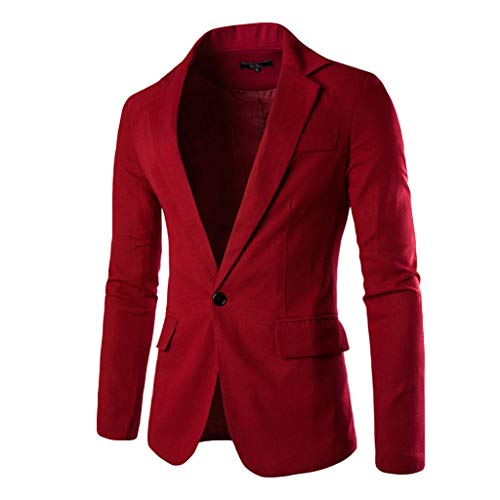Jacket Sports Coat Blazer Slim Fit Casual Suit Coat One Button Business Lapel Suit Stylish Wedding Party Outwear Coat Suit Tops Men's (L,13#Wine)]()