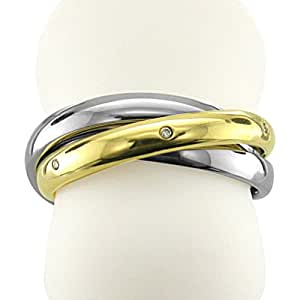 18k Yellow Gold and Stainless Steel 3 Circle Diamond Band Ring (0.03 carat)