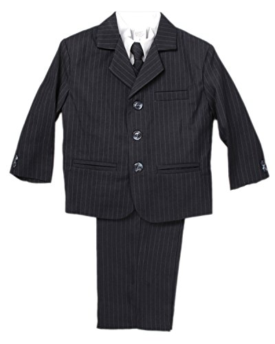 Caldore USA 5 Piece Boy's Dress Suit with Shirt, Vest, and Tie (3, Stripe Navy)