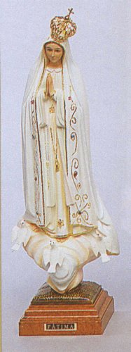 Statue - Our Lady of Fatima - 16in. - Glass Eyes - Wood Composite - Hand Painted Finish - MADE IN PORTUGAL - Authentic Fatimas from Portugal