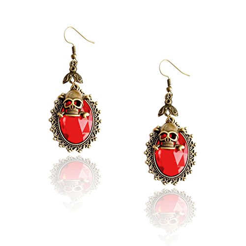 Vibrant Red Crystal Drop Earrings with Antiqued Gold Bezel and Skull Charm