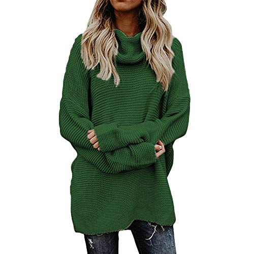 Carprinass Ladies Plain Waffle Knit Long Sleeve Ovesized Pullover Jumper Green M