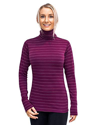 WoolX Peyton Turtleneck- Mulberry Stripe- SML - Stripe Wool Skirt