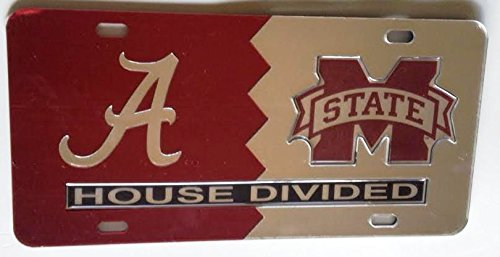 Alabama Crimson Tide - Mississippi State Bulldogs - House Divided Mirrored Car Tag License Plate