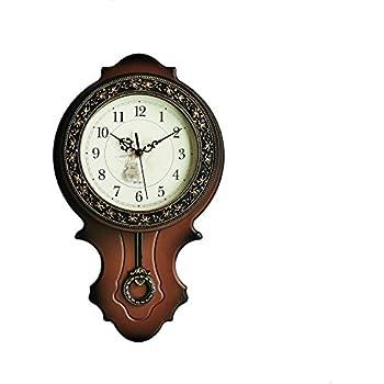 foxtop light weight antique retro elegant decorative clocks ultra mute silent quartz movement wall clock with swinging pendulum for kitchen living room home - Decorative Clocks