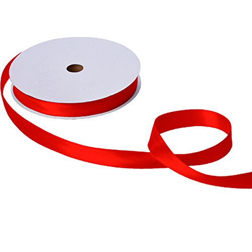 (Jillson Roberts Bulk 1-Inch Double Faced Satin Ribbon Available in 20 Colors, Red, 100 Yard Spool (BFR1009))