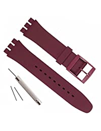 Replacement Waterproof Silicone Rubber Watch Strap Watch Band for Swatch (17mm 19mm 20mm) (19mm, Wine Red)
