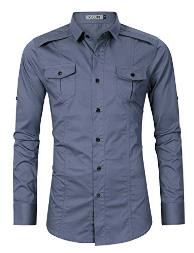 Kuulee Men's Casual Slim Fit Long Sleeve Button Up Cargo Work Shirt Dress Shirt (L, Denim Blue)