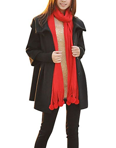 Women's Coat Knit Wool Princess Black With Sleeves Melansay Detachable Winter RIwvqvdx