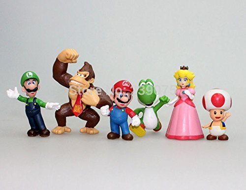 [Generic Toy Super Mario Bros Peach Toad Mario Luigi Yoshi Donkey Kong PVC Action Figure Toys] (Legend Lord Of Darkness Costume)