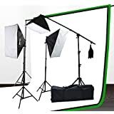 Fancierstudio lighting kit UL9004SB-69BWG 2000 Watt Photo Studio Lighting Kit With 6-9 Feet Muslin Backdrop and Background Stand-Black White