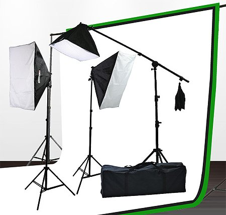 Fancierstudio lighting kit UL9004SB-69BWG 2000 Watt Photo Studio Lighting Kit With 6-9 Feet Muslin Backdrop and Background Stand-Black White by Fancierstudio