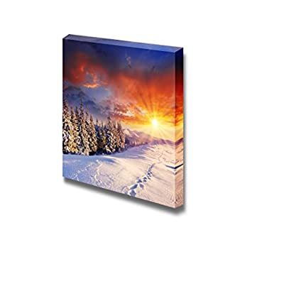 Canvas Prints Wall Art - Majestic Scenery/Landscape Sunset in The Winter Mountains | Modern Wall Decor/Home Decoration Stretched Gallery Canvas Wrap Giclee Print & Ready to Hang - 16
